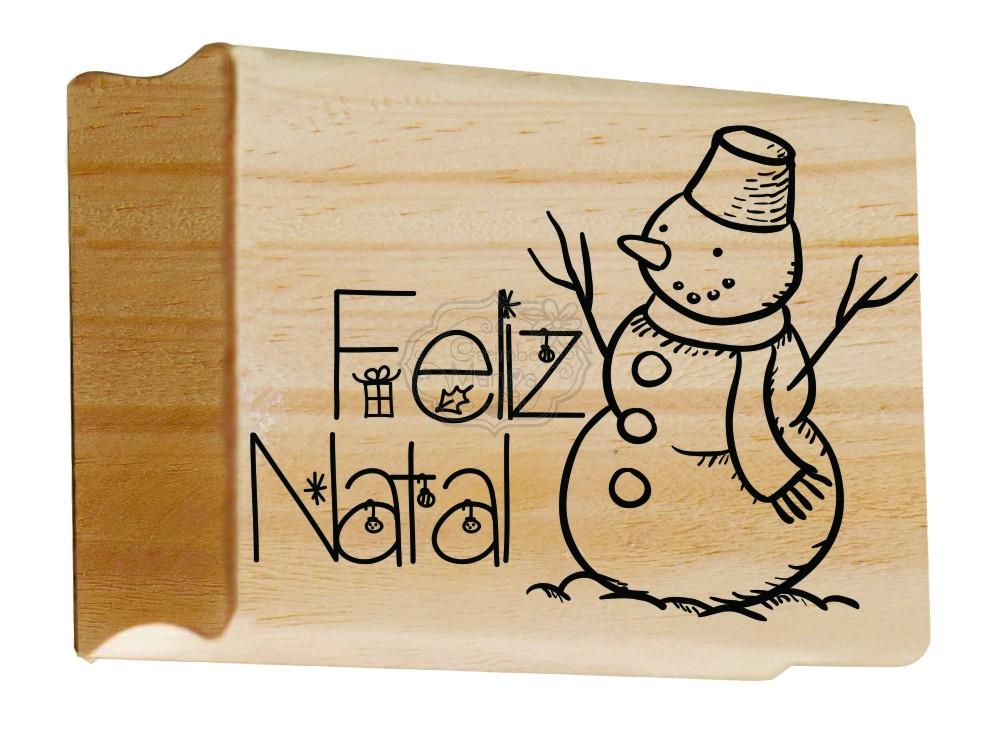 Carimbo  Natalino Feliz Natal Boneco de Neve