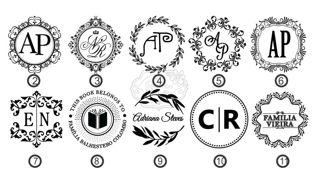 Carimbo Personalizado Monograma Iniciais